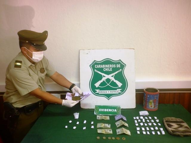 Carabineros detiene a hombre por tráfico de drogas