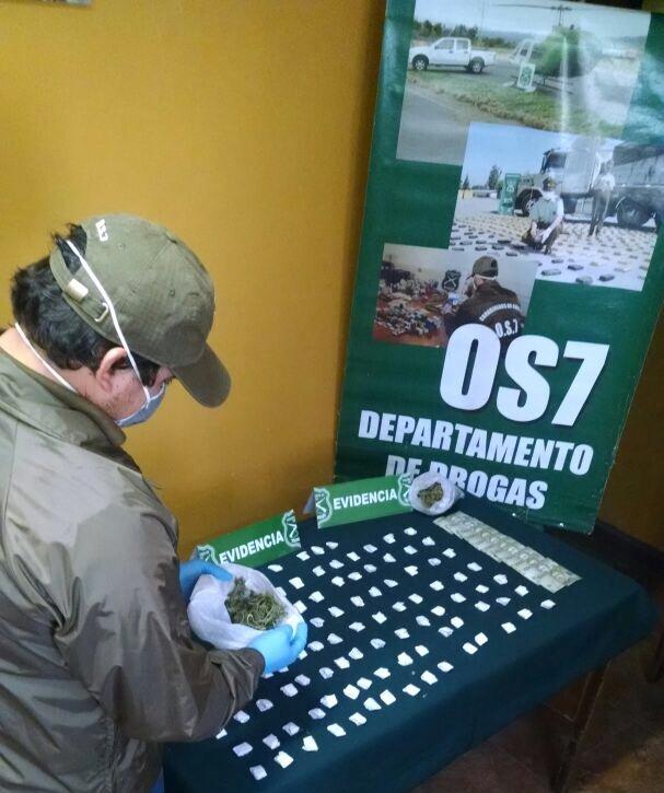 Con dos detenidos y decomiso de marihuana finalizó operativo del OS-7 de Carabineros en Talca