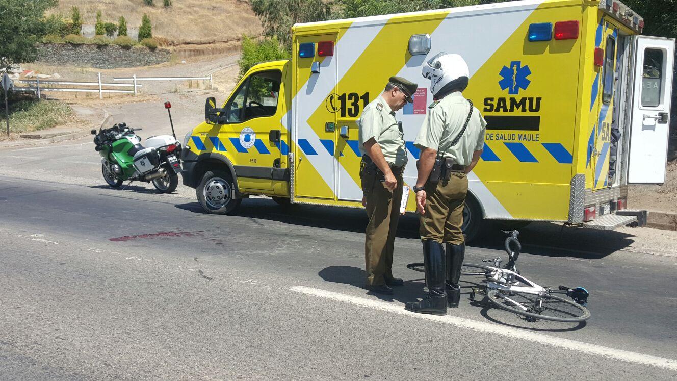 Ciclista resulta gravemente herido al ser impactado por camión en ruta Talca – Pencahue.