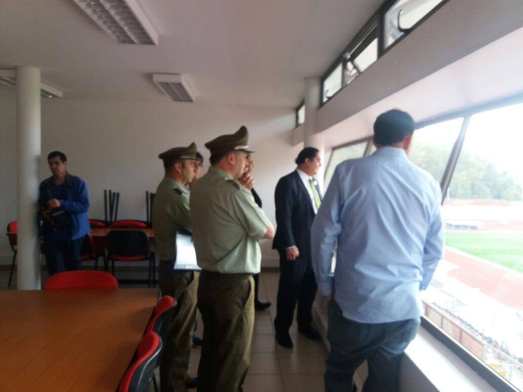 Gobierno y Carabineros realizan visita inspectiva al estadio fiscal de Talca, en la previa del clásico regional entre Rangers y provincia Curico Unido.