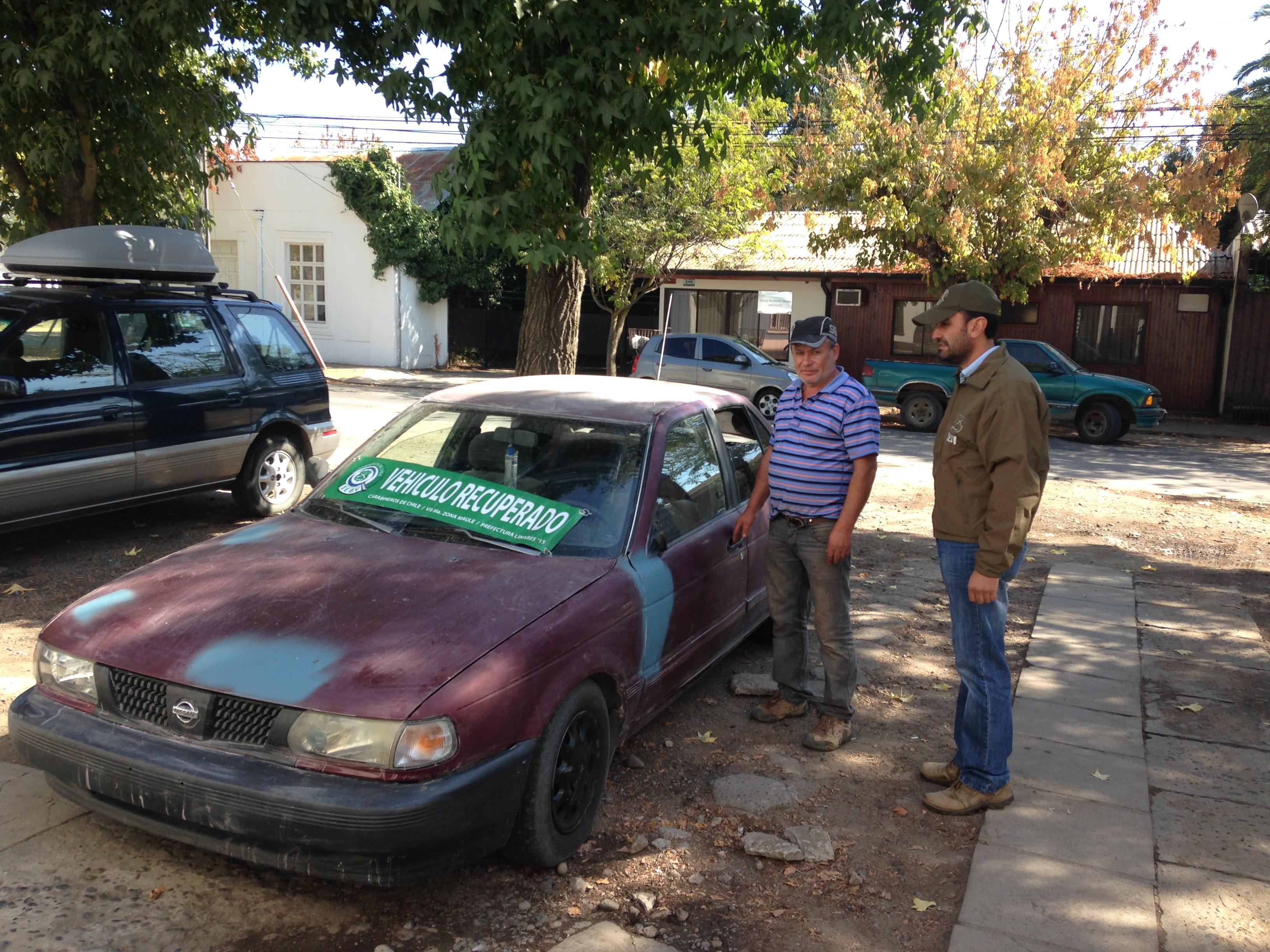 Carabineros recupera en Talca, vehículo robado y detiene a autor quien es reincidente en el mismo delito.