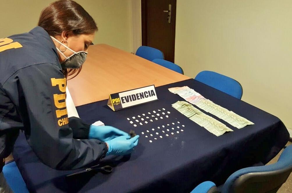 PDI de Curicó sacó de circulación 110 dosis de cocaína base