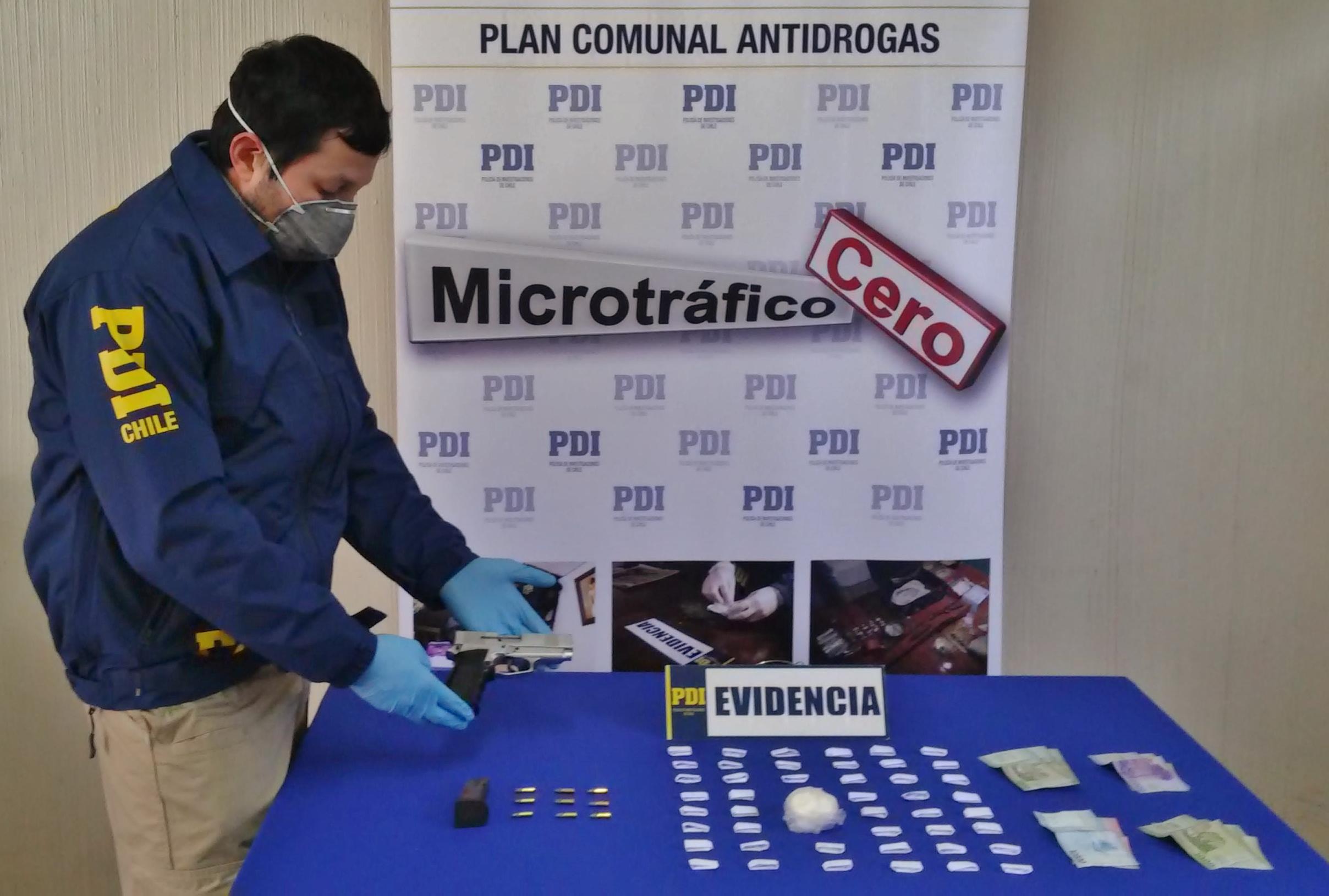 PDI detiene a hombre dedicado al microtráfico de drogas, e incauta armamento