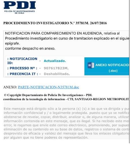 Alertan sobre falso correo con citación judicial