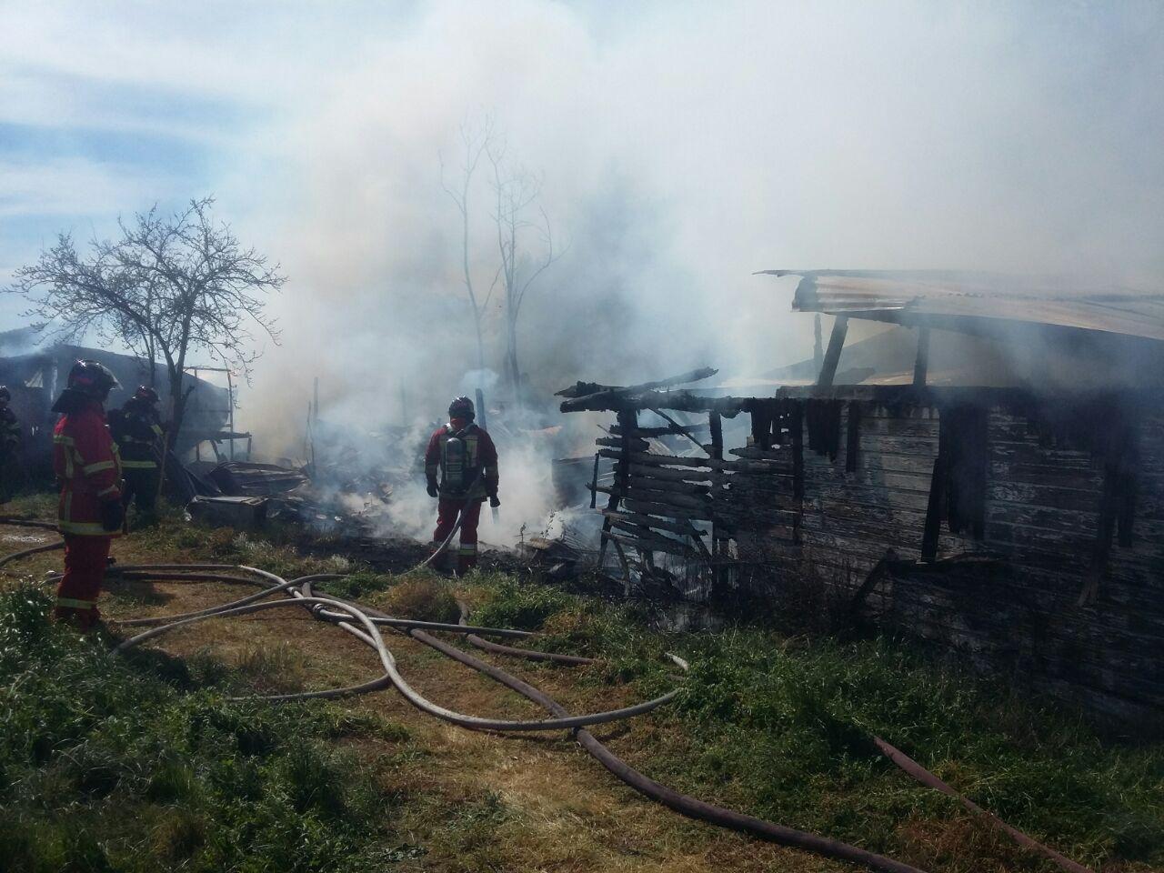 Incendio destruye viviendas de material ligero en Colín de Maule