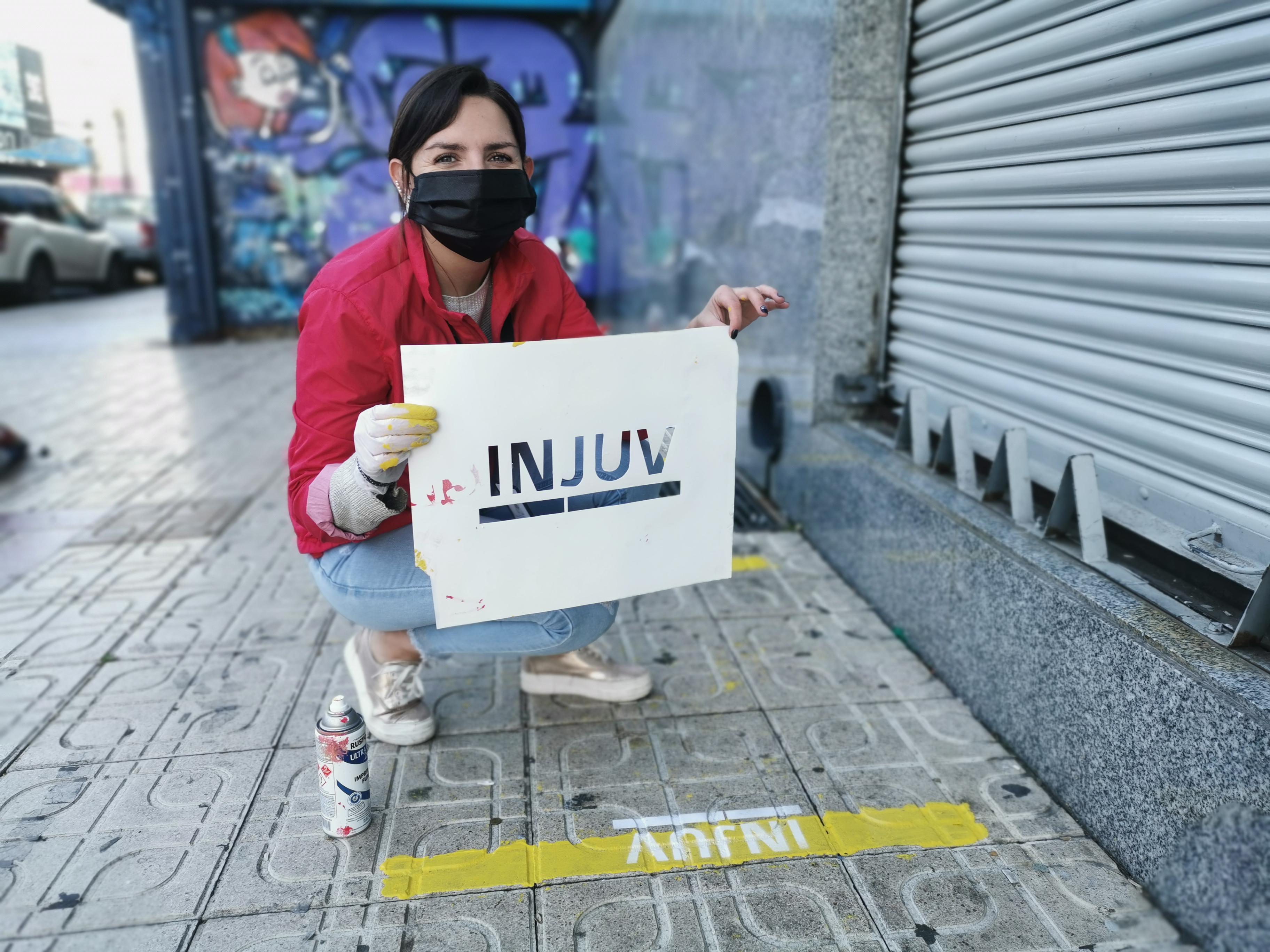 INJUV demarcó calles de la ciudad para evitar aglomeraciones y que la comunidad respete la distancia social