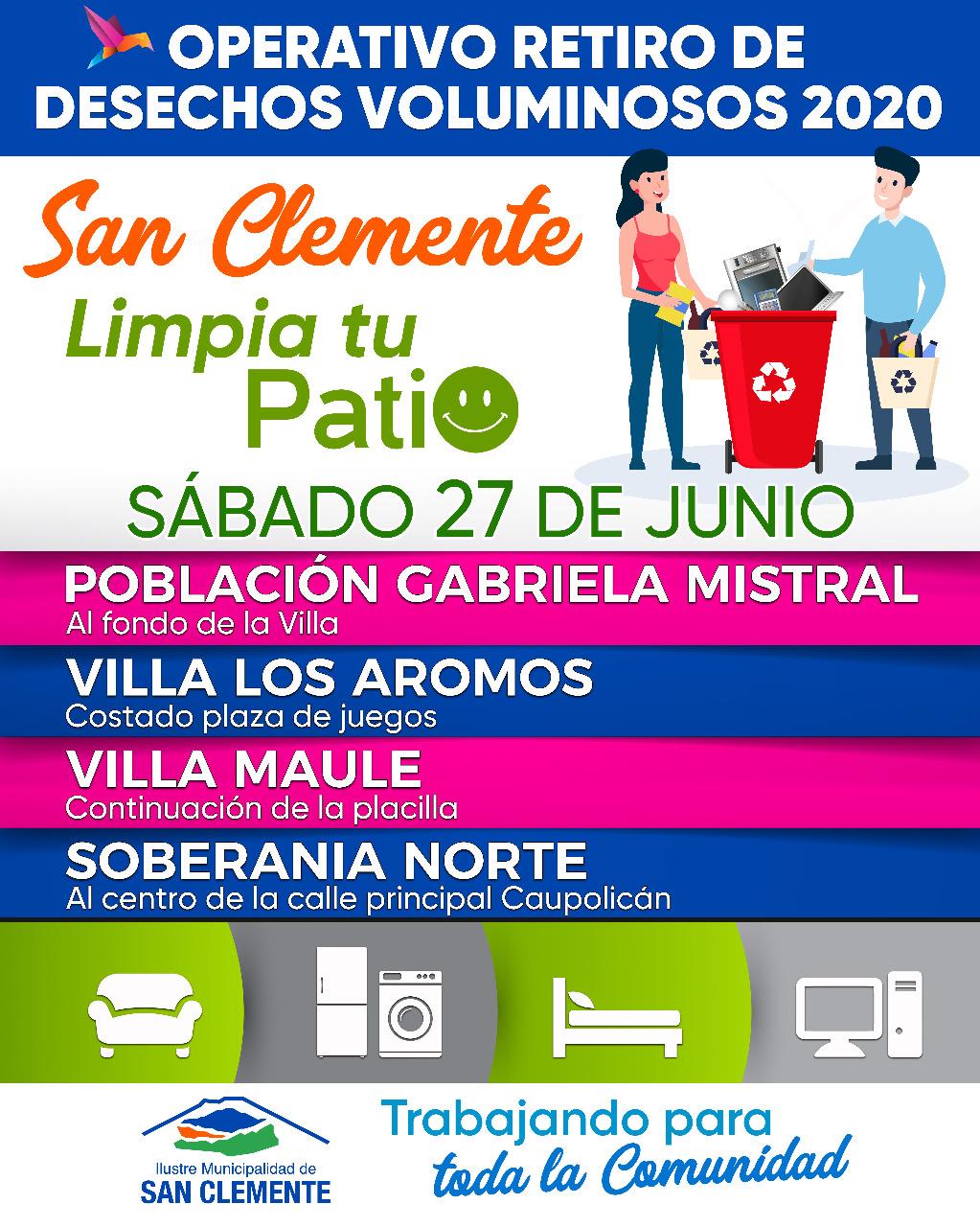 Gabriela Mistral, villa los Aromos, villa Maule y Soberanía norte recibirán este sábado 27 de junio un nuevo operativo de retiro de desechos voluminosos